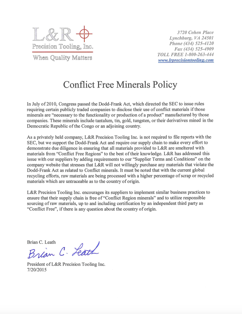 Conflict free mineral policy lr precision tooling click here to download our conflict free mineral policy 1betcityfo Images